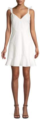 Aidan Mattox Crepe Flounce Hem Fit-&-Flare Dress