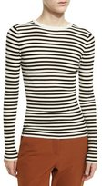 A.L.C. Harmon Ribbed Striped Wool-Blend Sweater, White/Black