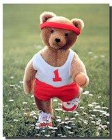 Stuffed Cute Teddy Bear Jogging Kids Room Wall Decor Art Print Poster (16x20)
