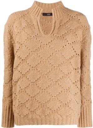Steffen Schraut V-neck perforated knit jumper