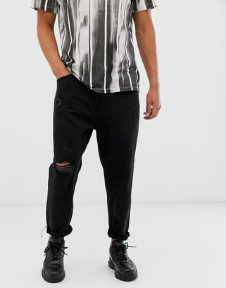 Bershka loose fit jeans in washed black