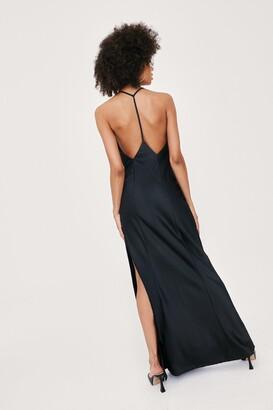 Nasty Gal Womens Strappy Back Split Hem Satin Maxi Dress - Black - 4