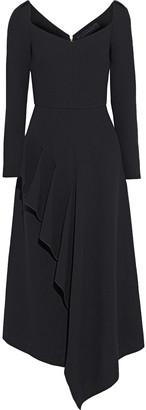 Roland Mouret Blackwater Draped Wool-crepe Midi Dress