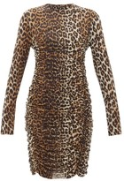 Ganni Ruched Leopard-print Mesh Dress - Womens - Leopard