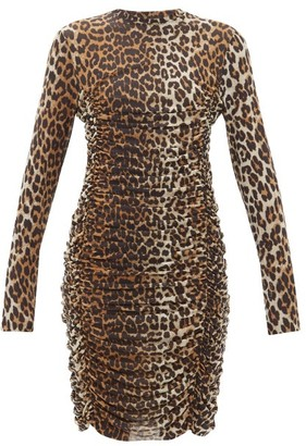 Ganni Ruched Leopard-print Mesh Dress - Leopard