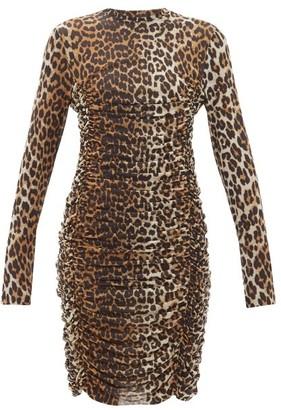 Ganni Ruched Leopard-print Mesh Dress - Womens - Leopard