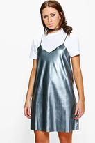 Boohoo Melody Metallic Faux Leather Slip Dress