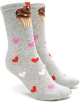 Forever 21 FOREVER 21+ Cupcakes and Hearts Crew Socks