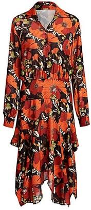 Dodo Bar Or Natasha Floral Long-Sleeve Handkerchief Shirtdress