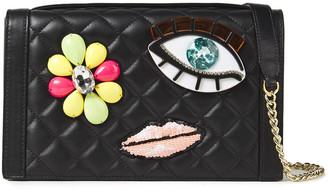 Boutique Moschino Appliqued Quilted Leather Shoulder Bag