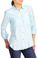 Calvin Klein Women's Textured Pocket Utility Shirt
