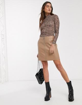 Only faux leather biker skirt in beige