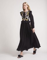 Cynthia Rowley Embroidered Silk Long Sleeve Dress