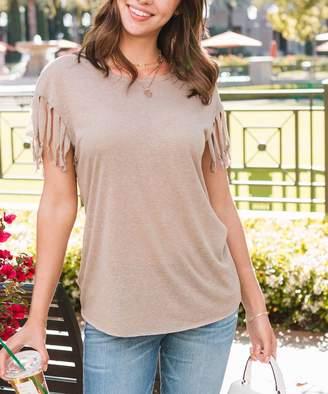 Amaryllis Women's Tee Shirts Oatmeal - Oatmeal Linen-Blend Fringe Cap-Sleeve Tee - Women & Plus