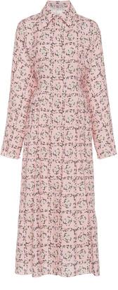 Emilia Wickstead Oriana Floral Collared Poplin Shirt Dress