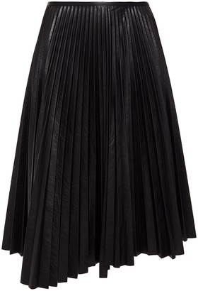 Cédric Charlier Asymmetric Pleated Faux Leather Midi Skirt