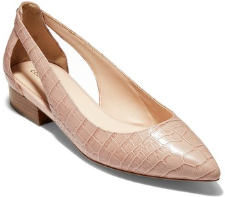 Cole Haan Marcey Croc Embossed Leather Skimmer Flat