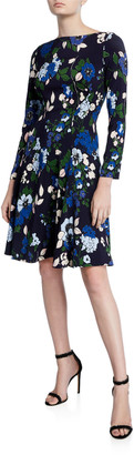 Lela Rose Floral-Print 3/4-Sleeve Dress