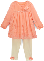 Coral Flower-Accent Top & Leggings - Infant & Toddler