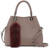 Vince Camuto Elva Embossed Satchel with Rabbit Fur Pom