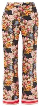 Borgo de Nor Eden High-rise Floral-print Silk Trousers - Black Multi