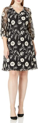 Julian Taylor Women's Plus Size Floral Printed Lace 3/4 Puf Sleeve Shift Dress