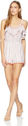 Moon River Women's Cold Shoulder Striped Romper with Pompom Ruffle Trim