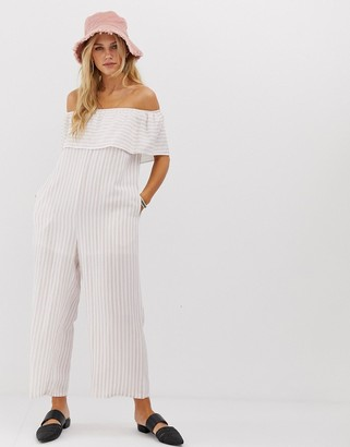 En Creme relaxed bardot jumpsuit with wide leg in pinstripe