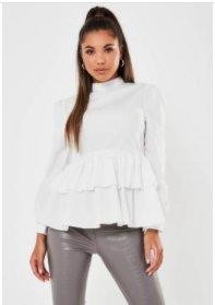 Missguided White High Neck Long Sleeve Smock Top