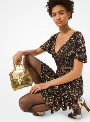 Michael Kors Collection Sequined Silk-Chiffon Ruffle Dress