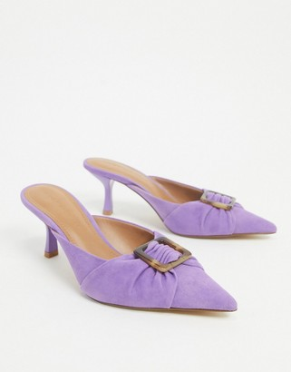 Who What Wear Analise buckle heeled mules in purple leather