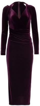 Talbot Runhof Long-Sleeve Velvet Cocktail Dress