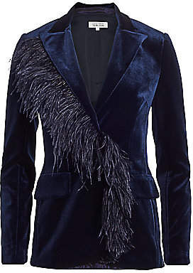 Teri Jon by Rickie Freeman Women's Feather Trimmed Velvet Blazer