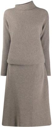 Agnona Funnel Neck Ribbed Dress
