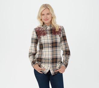 Denim & Co. Stretch Weave Long-Sleeve Plaid Shirt w/ Embroidery