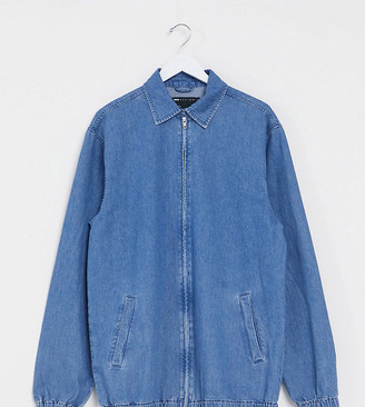 ASOS DESIGN Tall denim harrington jacket in mid wash blue