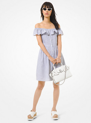 Michael Kors Striped Linen and Cotton Off-The-Shoulder Dress