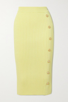 Balmain Button-embellished Ribbed Stretch-knit Midi Skirt - Yellow