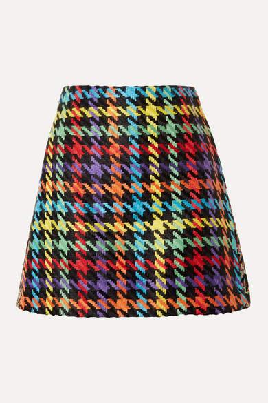 Alice + Olivia Alice Olivia - Darma Houndstooth Tweed Mini Skirt - Pink