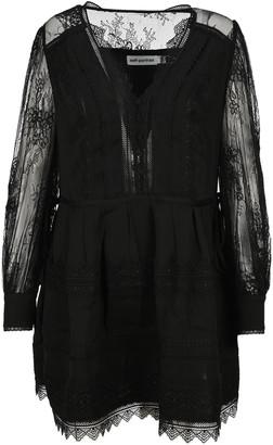 Self-Portrait Black Lace Trimmed Mini Dress