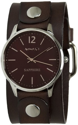 Nemesis Women's Sapphire Stainless Steel Japanese-Quartz Watch with Leather Strap