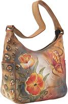Anuschka Hobo with Side Pockets - Premium Floral Safari