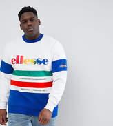 Ellesse PLUS Color Block Paneled Sweatshirt In White