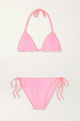 Hunza G + Net Sustain Carmen Seersucker Bikini - Bright pink