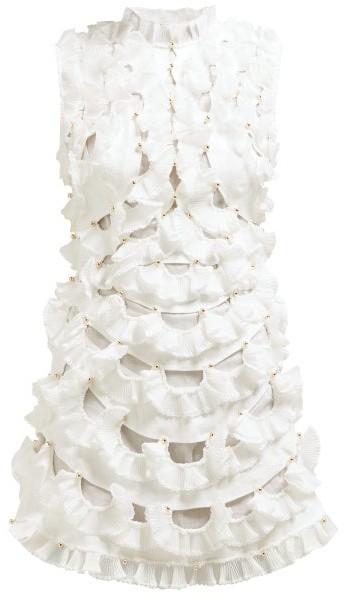 Zimmermann Zippy Fan Frilled Mini Dress - Womens - Ivory
