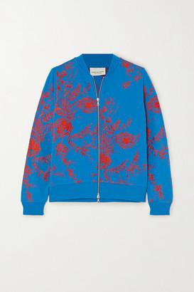 Dries Van Noten Haro Embroidered Cotton-ponte Bomber Jacket - Blue
