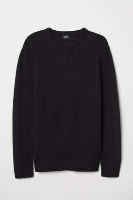 H&M Textured-knit Sweater - Black