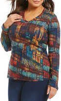 Westbound Plus Rib Abstract Print V-Neck Top