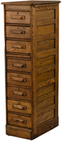 Rejuvenation Tall Oak Filing Cabinet w/ Brass Escutcheons c1920
