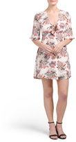 Juniors Bell Sleeve Tie Front Dress